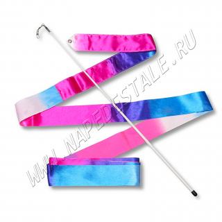 Лента 6 м с палочкой Бело-сине-розовая
